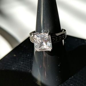 Substitute Silver Engagement Ring - size 7